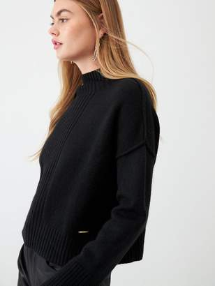 River Island High Neck Cropped Knitted Jumper- Black