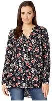 Roper 6127 Floral Print Rayon Tunic (Black) Women's Clothing