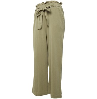 Brave Soul Womens Snow Loose Fitted Trousers With Self Fabric Tie Belt Light Khaki