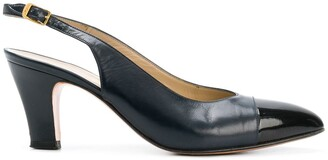 Salvatore Ferragamo Pre Owned Contrast Toe Slingback Pumps