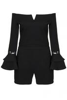 Quiz Black Bardot Frill Lace Sleeve Playsuit