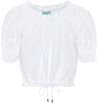 Melissa Odabash Francesca embroidered cotton top