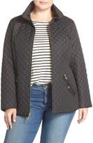 Ellen Tracy Zip Front Quilted Jacket (Plus Size)