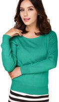 Panreddy Women's Cashmere Wool Blended Long Sleeve Crew Neck Sweater L