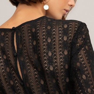 La Redoute Collections Long-Sleeved Lace Blouse in Cotton Mix