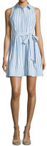 Milly Breton Sleeveless Striped Shirtdress, Blue