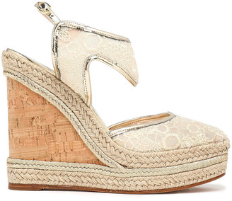 Nicholas Kirkwood Metallic Leather-trimmed Embroidered Mesh Espadrille Wedge Sandals