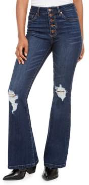 Dollhouse Juniors' Ripped Button-Fly Flare-Leg Jeans