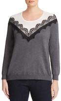VINCE CAMUTO Plus Lace Appliqué Color Block Sweater