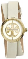 Tory Burch Reva Double-Wrap Leather Watch, White/Golden