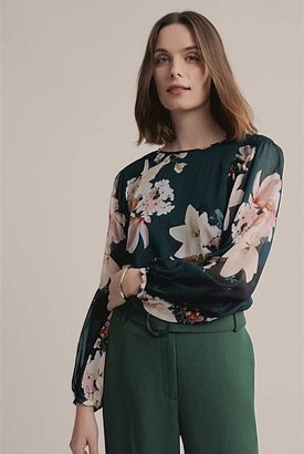 Witchery Print Georgette Shirred Blouse
