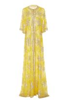 Naeem Khan Metallic Sequin Embellished Sheath Gown
