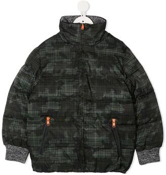 Stella McCartney Kids Camo Check puffer jacket