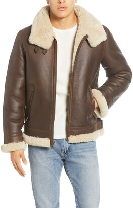 UGG Auden Genuine Shearling Trim Leather Aviator Jacket