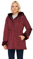 As Is Dennis Basso Cinch Waist Quilted Anorak W/ Faux Fur