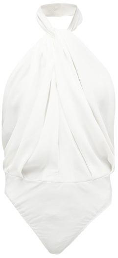 Sara Battaglia Twisted-halterneck Crepe Bodysuit - White