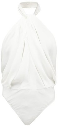 Sara Battaglia Twisted-halterneck Crepe Bodysuit - White
