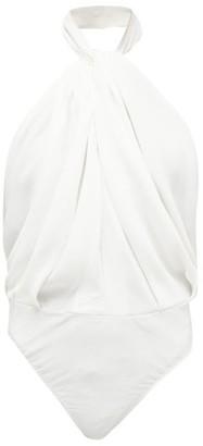 Sara Battaglia Twisted-halterneck Crepe Bodysuit - Womens - White