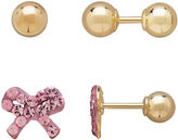 FINE JEWELRY Infinite Gold Kids 14K Yellow Gold Pink Crystal-Accent Bow and Ball Stud 2-pr. Earring Set