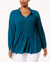 Charter Club Plus Size Pleated Blouse, Created for Macy's