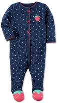 Carter's 1-Pc. Dot-Print Strawberry Footed Coverall, Baby Girls (0-24 months)