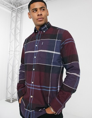 Barbour Cammich slim fit check shirt in burgundy-Red
