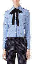 Gucci Rabbit Fil Coupe Tie-Neck Shirt