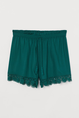 H&M H&M+ Lace-trimmed Shorts - Green