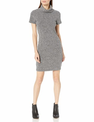 Lark & Ro Women's Short Sleeve Cowlneck Knit Dress Black/Grey/White/Melange Medium