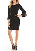 Calvin Klein Logo Grommet Trim Bell Sleeve Sheath Dress