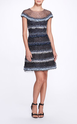 Marchesa Beaded Feather-Embellished Tulle Dress