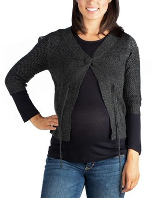 24/7 Comfort Apparel 24seven Comfort Apparel Womens Maternity Grey Chic Cropped Cardigan