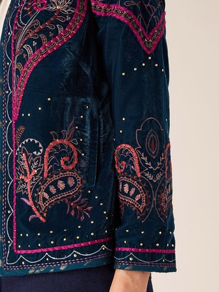 Monsoon Velvet Embroidered Jacket - Teal