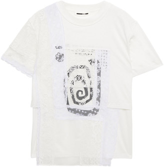 McQ Patchwork Lace, Mesh And Printed Cotton-jersey T-shirt