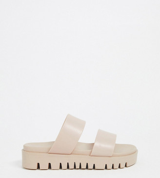 ASOS DESIGN Wide Fit Fletch chunky jelly flat sandals in beige