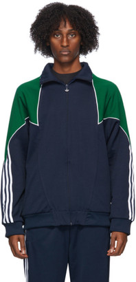 adidas Navy and Green Trefoil Abstract Jacket