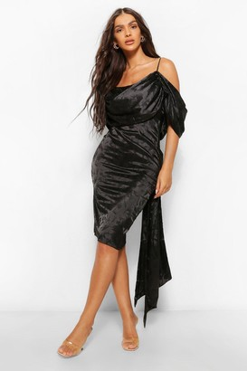 boohoo Satin Jacquard Off The Shoulder Midi Dress