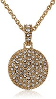 """Judith Jack Golden Class"""" Sterling Silver and Gold-Tone Crystal Marcasite Disc Pendant Necklace"""