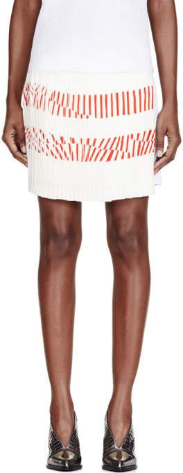 Maiyet White Silk Printed Pleated-Paneled Skirt