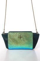 Pour La Victoire Green Leather Iridescent Shoulder Handbag Size Small