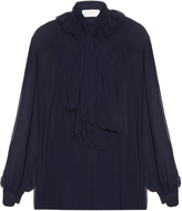 See by Chloe Ruffle-trimmed long-sleeved crepe blouse