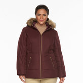 Details Plus Size Hooded Chevron-Stitch Puffer Jacket