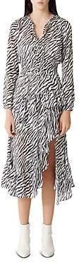 Maje Ribou Zebra Print Ruffle Midi Dress