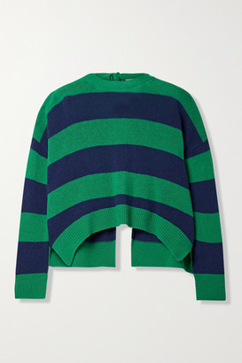 Marni Open-back Striped Wool And Cashmere-blend Sweater - Green