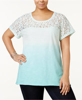 Style&Co. Style & Co Plus Size Lace-Yoke Dip-Dyed Top, Created for Macy's