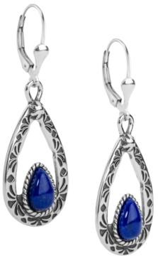American West Blue Lapis Teardrop Dangle Earrings
