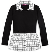 Aqua Girls' Check Trimmed Knit Top - Sizes S-XL