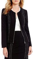 Calvin Klein Scuba Crepe Zip Front Stud Embellished Jacket