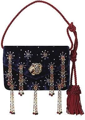 Gucci Women's Broadway Embellished Velvet Shoulder Bag