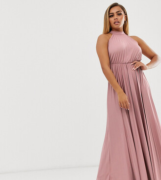 Asos DESIGN Petite halter pleated waisted maxi dress-Pink